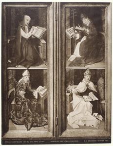 H. Hieronymus? (boven), H. Augustinus (onder) (linkerluik); H. Gregorius de Grote (boven), H. Ambrosius (onder) (rechterluik); (op de achterzijde: De annunciatie in grisaille)
