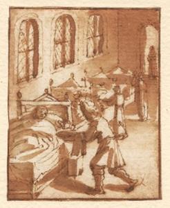 Heilige monnik verzorgt een zieke man in een ziekenzaal