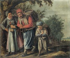 Een met rugmanden beladen boerenfamilie op een landweg