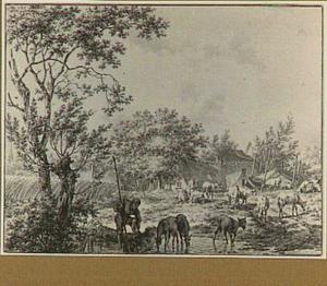 Landschap met boerderij, herders en vee