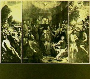 De schepping van Adam (links), de nederdaling van de H. Geest (Pinksteren; midden), de doop van Christus (rechts)
