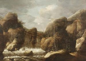 Woest berglandschap met waterval