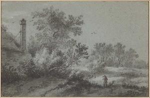 Duinlandschap met bomen en een boerderij