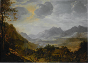 Gezicht op een panoramisch Rijnlandschap