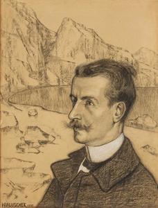 Zelfportret in rotsachtig landschap