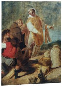 Het hostiewonder van de H. Antonius van Padua: om een jood te overtuigen houdt Antonius een hostie voor een ezel, die daarop knielt