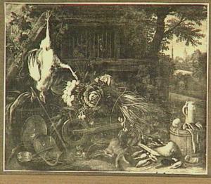 Boerenerf met kruiwagen vol groente, aardewerk en jachtbuit