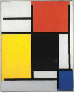 Composition with red, yellow, black, blue, and gray