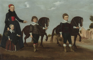 Portret van een moeder met haar dochter en twee zonen met hun paardjes