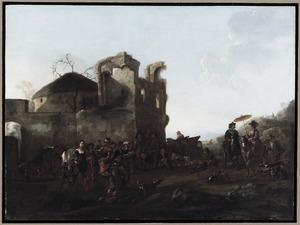 Rustende jagers voor een ruïne (de jager links is een vrouw in mannenkleren)