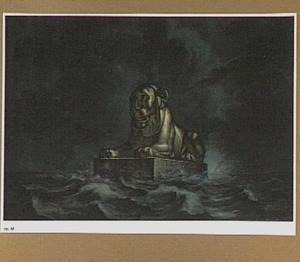 Ontwerp voor een stenen Egyptische leeuw voor de Nederlandse kust bij Katwijk