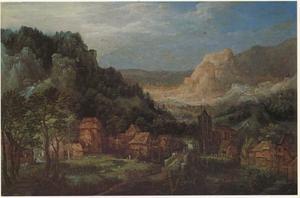 Panoramalandschap met een dorpszicht