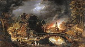De nachtelijke plundering en verwoesting van een dorp