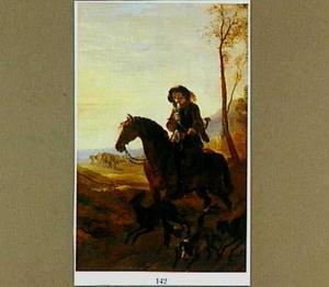 Landschap met hoornblazende jager te paard, vergezeld van jachthonden