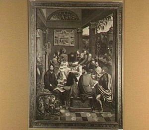 Christus in het huis van Simon de Farizeër (Lucas 7:36-50); rechts op de achtergrond de intocht in Jeruzalem