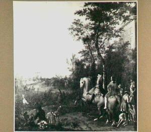 Landschap met jagers te paard voor een landhuis