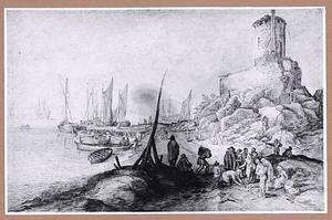 Kustlandschap met visverkoop op het strand en het graf van Scipio