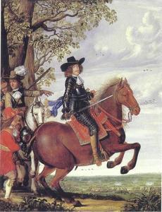 Portret van koning Frederik III (1609-1670) te paard, met in de achtergrond de slag bij Nyborg (1659)