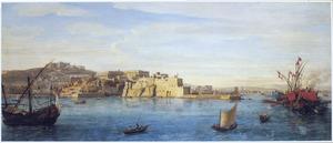 Gezicht op de baai van Napels in de richting van Castel dell'Ovo