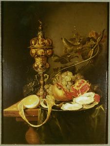 Stilleven met een akeleibeker en oesters