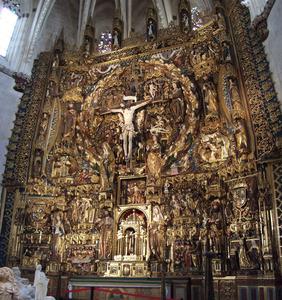Miraflores Retabel, met de kruisiging, voorstellingen uit het leven van Christus, heiligen en apostelen, en opdrachtgevers