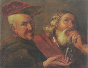 De filosofen Democritus en Heraclitus