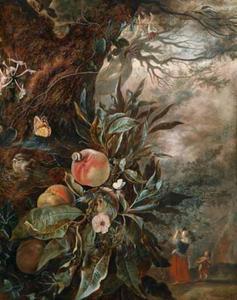 Perziken aan een boom, met op de achtergrond een vrouw en een kind die fruit plukken