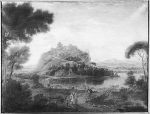 Zuidelijk landschap met een kasteel op een heuvel