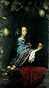 Portret van een onbekende vrouw in een vensternis