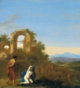 Zuidelijk landschap met een vrouw die zich naakt aan een heremiet (heilige?) toont