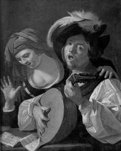 Luitspeler en zingende vrouw