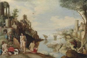 Kustlandschap met zwemmers, reizigers en Tobias en de engel