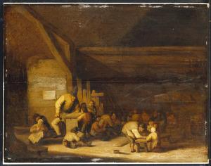 Schoolmeester met zijn leerlingen
