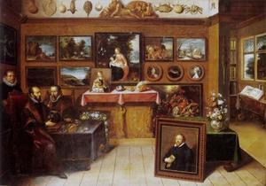 Groepsportret van Abraham Ortelius (1527-1598), Justus Lipsius (1547-1606) en een bediende in een kunstkabinet