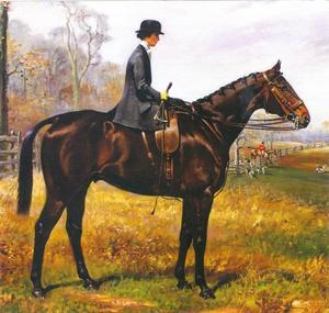 Portret van Mevrouw William C. Langley, in dameszadel op Sandown