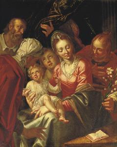 De H. Familie met diverse heiligen