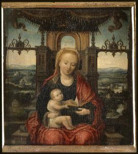 Tronende Maria met kind, met een landschap op de achtergrond