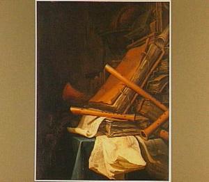 Vanitasstilleven met boeken, muziekinstrumenten en een globe