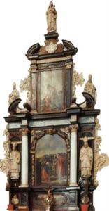 St. Jozef-altaar: Het Christuskind met de H. Jozef (boven), Jezus die Petrus de sleutels van de hemelpoort overhandigt (midden) en de roeping van Petrus (onder, op de predella)