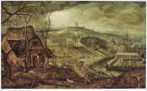 Panorama landschap met een allegorische voorstelling van de overgang tussen winter en zomer