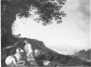 Landschap met een slapende jager en een windhon