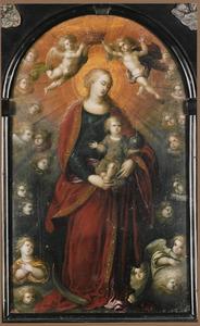 Maria staande op de maansikkel als koningin der hemelen met het Kind als Salvator Mundi en engelen