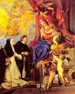 Madonna met de rozenkrans met de H. Domenicus en de H. Catherina van Siena