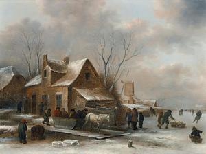 Winterlandschap met figuren in een arreslee buiten een dorp