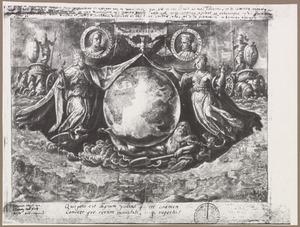 Flora en Janus onthullen de wereldbol; portretmedaillons van Amerigo Vespucci en Christoffel Columbus en de kust tussen Livorno en Savona