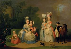 Portret van prinses Carolina van Oranje-Nassau (1743-1787) en haar kinderen