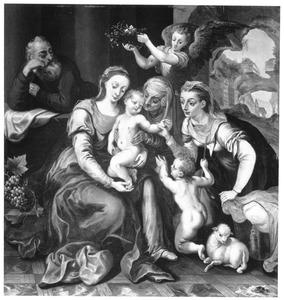 De Heilige Familie met Elizabeth, Johannes de Doper en een engel