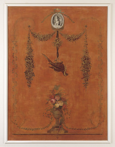 Ornamentele schildering met vogels en medaillon