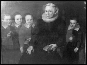 Een regentes van het Heilige Geestweeshuis te Gorinchem met vier weeskinderen