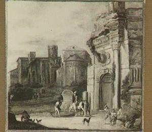 Zuidelijk landschap met rustende reizigers bij een fontein, op de achtergrond klassieke ruïnes